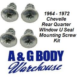 1964 - 1972 Chevelle Door Jam Weather Seals U Seal Mounting Screw Kit