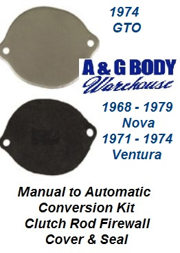 Clutch Rod Delete Plate & Gasket (Manual to Automatic Conversions) 1974 GTO & others