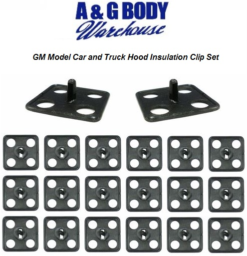 1970 - 1992 GM Hood Insulation Blanket Clip Kit Square Style