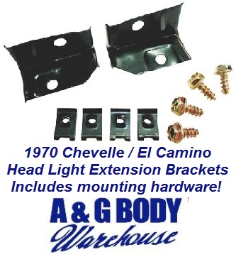 1970 Chevelle El Camino Headlight Extension Brackets & Mounting Kit