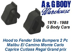 1978 - 1988 Hood Side to Fender Rubber Bump Stop Kit 2 pc
