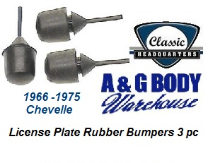 License Plate Rubber Bumper Kit 3 pc 1966 - 1975 Chevelle