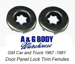 1964 - 1978 Door Lock Ferrules PAIR All GM Models
