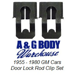 1955 - 1980 GM Door Handle Lock Rod Clip Set