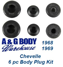 1968 1969 Chevelle Body Plug Kit 6 pc